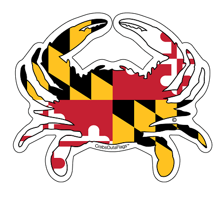 Maryland State Crab Flag Decal Or Magnet