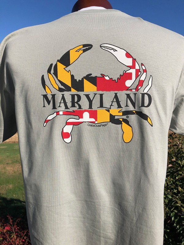 CrabsOutaFlags® Maryland Flag Crab Sandwich T-Shirt